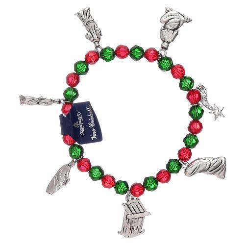 Pulsera de Navidad elástico de cristal y librito oraciones navideñas ITA 2