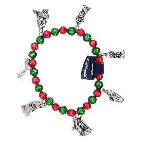 Rosaires de dévotion: Bracelet de Noël élastique en cristal avec livre prières Noël ITA