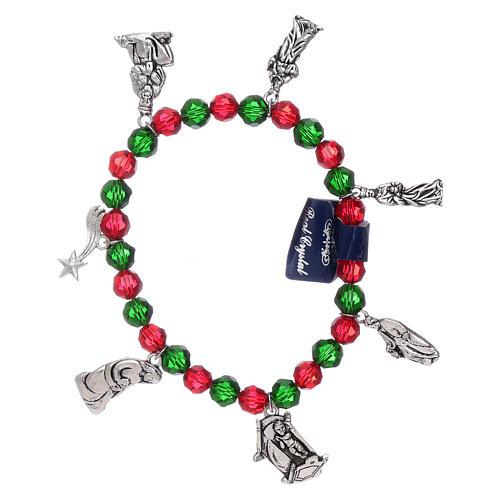 Bracelet de Noël élastique en cristal avec livre prières Noël ITA 1