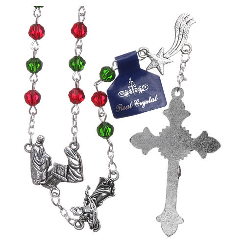 Christmas rosary in crystal with Christmas prayers booklet ITALIAN 2