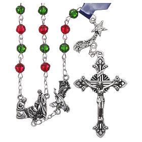 Rosario de Navidad de cristal con librito oraciones navideñas ITA s1