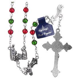 Rosario de Navidad de cristal con librito oraciones navideñas ITA s2