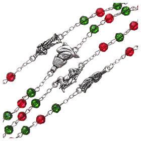 Rosario de Navidad de cristal con librito oraciones navideñas ITA s3