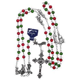 Rosario de Navidad de cristal con librito oraciones navideñas ITA s4