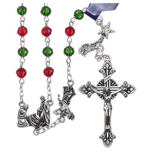 Rosario de Navidad de cristal con librito oraciones navideñas ITA 1