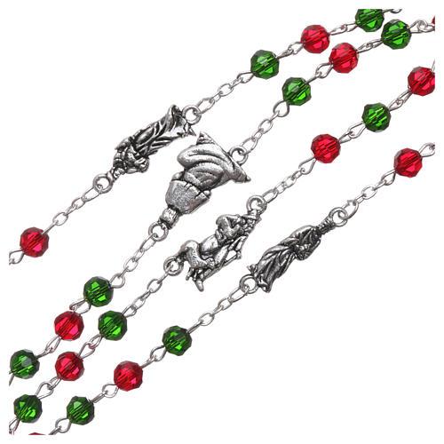 Rosario de Navidad de cristal con librito oraciones navideñas ITA 3