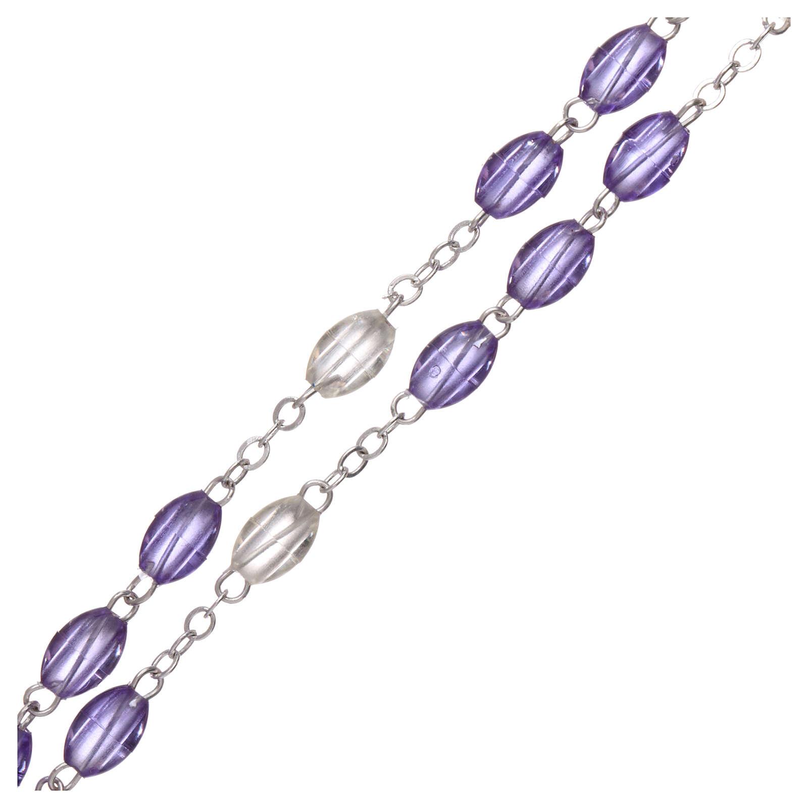 Rosenkranz mit violetten Perlen Heiliger Josef, 5x3 mm 4