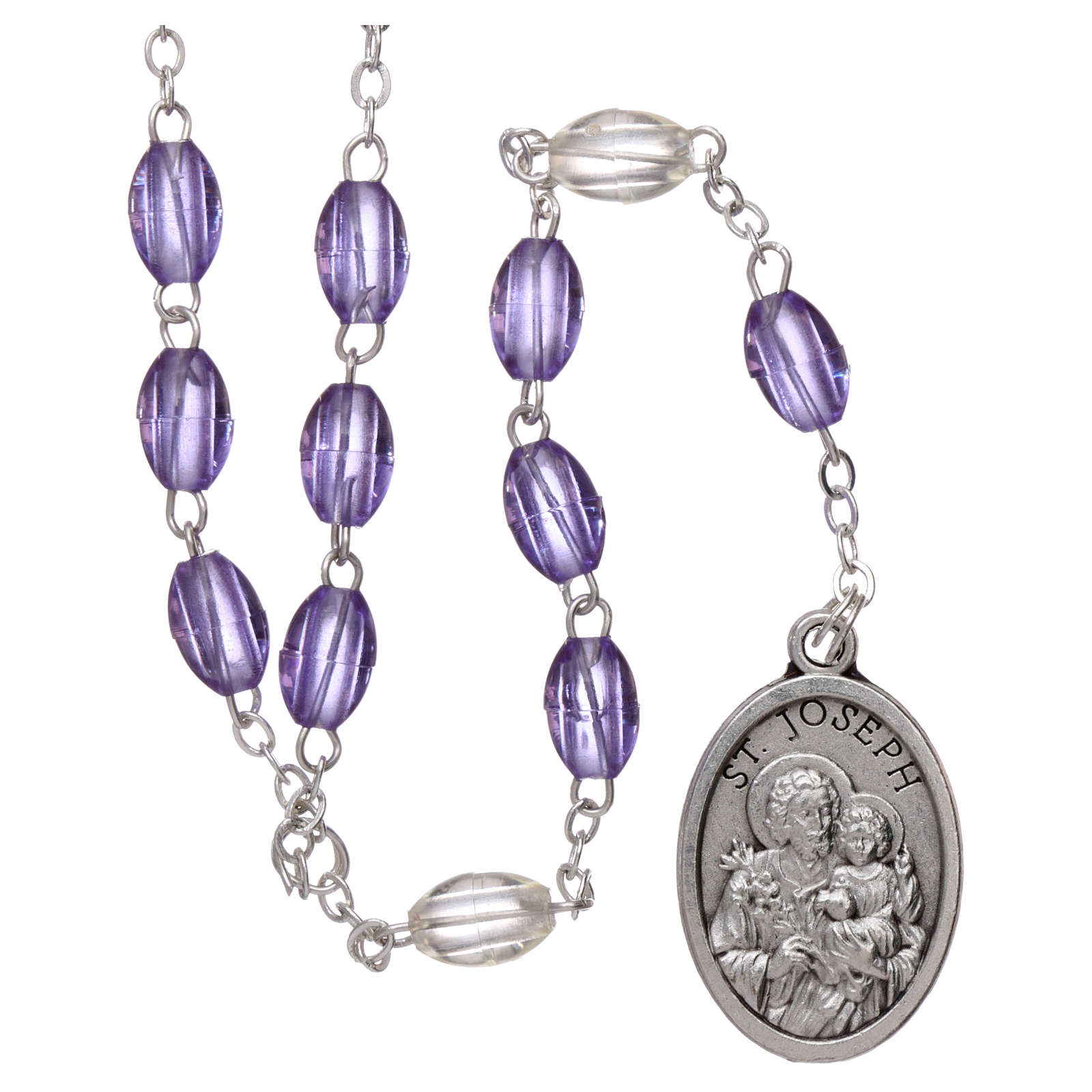Rosary in plastic 5x3 mm purple grains, Saint Joseph 4
