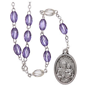 Rosary in plastic 5x3 mm purple grains, Saint Joseph s1