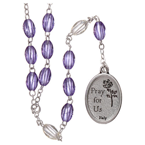 Rosary in plastic 5x3 mm purple grains, Saint Joseph 2