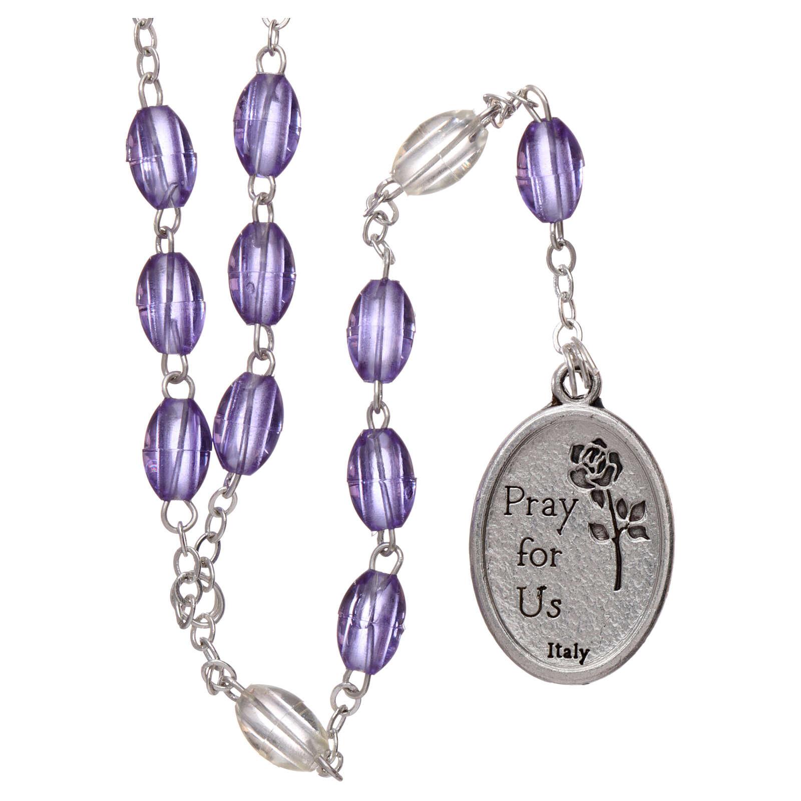 Plastic rosary St Joseph 5x3 mm violet 4