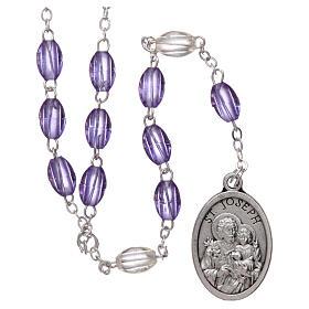 Plastic rosary St Joseph 5x3 mm violet s1