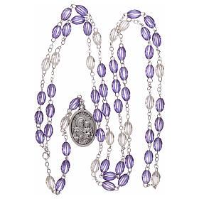 Plastic rosary St Joseph 5x3 mm violet s4