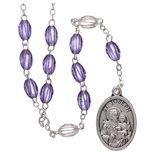 Plastic rosary St Joseph 5x3 mm violet 1