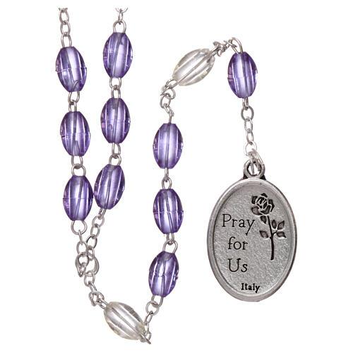 Plastic rosary St Joseph 5x3 mm violet 2