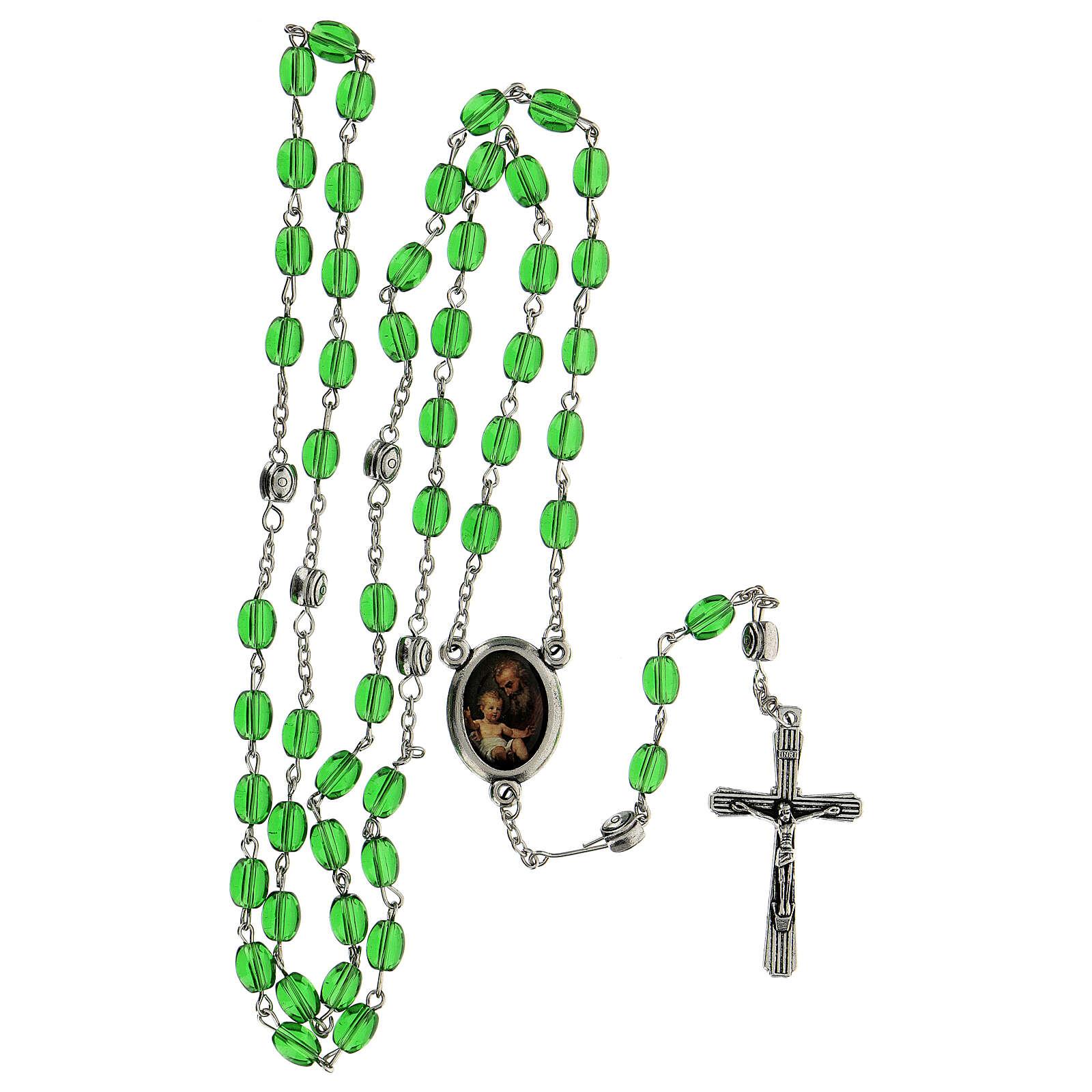 Rosenkranz von Sankt Josef mit gestreckten Perlen aus grűnem Glas (6 mm) - Kollektion Glaubenskronen 11/47 4