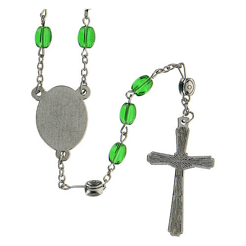 Rosenkranz von Sankt Josef mit gestreckten Perlen aus grűnem Glas (6 mm) - Kollektion Glaubenskronen 11/47 3