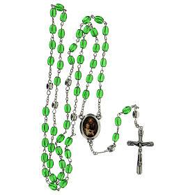 Różaniec Święty Józef koraliki szkło zielone podłużne 6 mm - Kolekcja Korony Wiary 11/47 s5