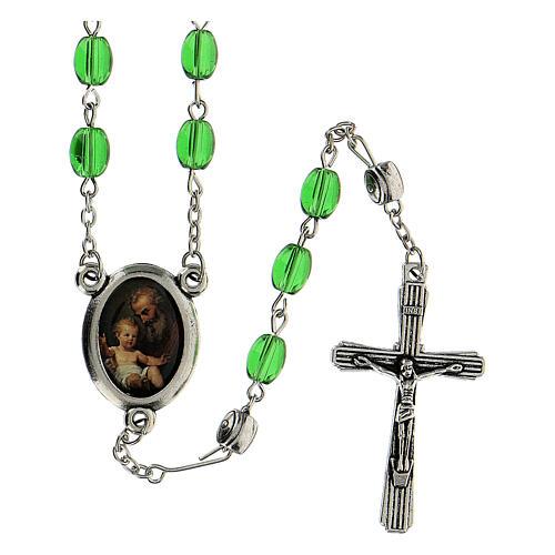 Różaniec Święty Józef koraliki szkło zielone podłużne 6 mm - Kolekcja Korony Wiary 11/47 1