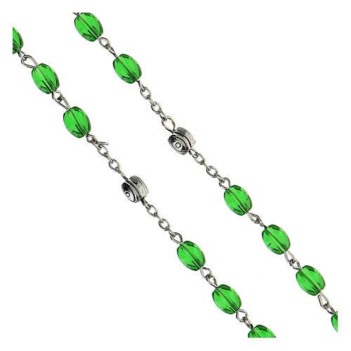 Różaniec Święty Józef koraliki szkło zielone podłużne 6 mm - Kolekcja Korony Wiary 11/47 4