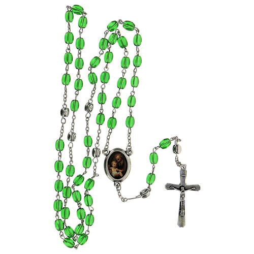 Różaniec Święty Józef koraliki szkło zielone podłużne 6 mm - Kolekcja Korony Wiary 11/47 5