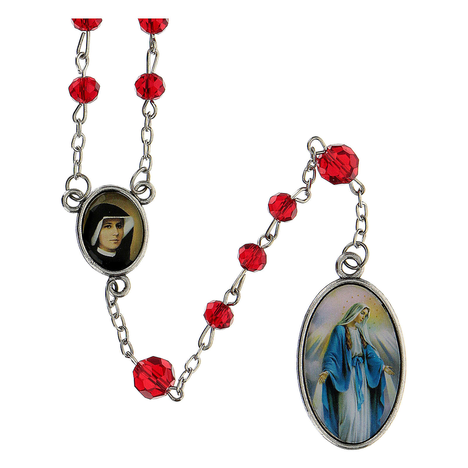 Różaniec Miłosierdzie Boże koraliki szlifowane szkło czerwone 6 mm - Kolekcja Korony Wiary 18/47 4