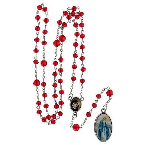 Różaniec Miłosierdzie Boże koraliki szlifowane szkło czerwone 6 mm - Kolekcja Korony Wiary 18/47 5