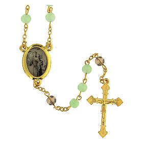 Różaniec Św. Antoni z Padwy koraliki szkło zielone jasne 6 mm - Kolekcja Korony Wiary 23/47 s1
