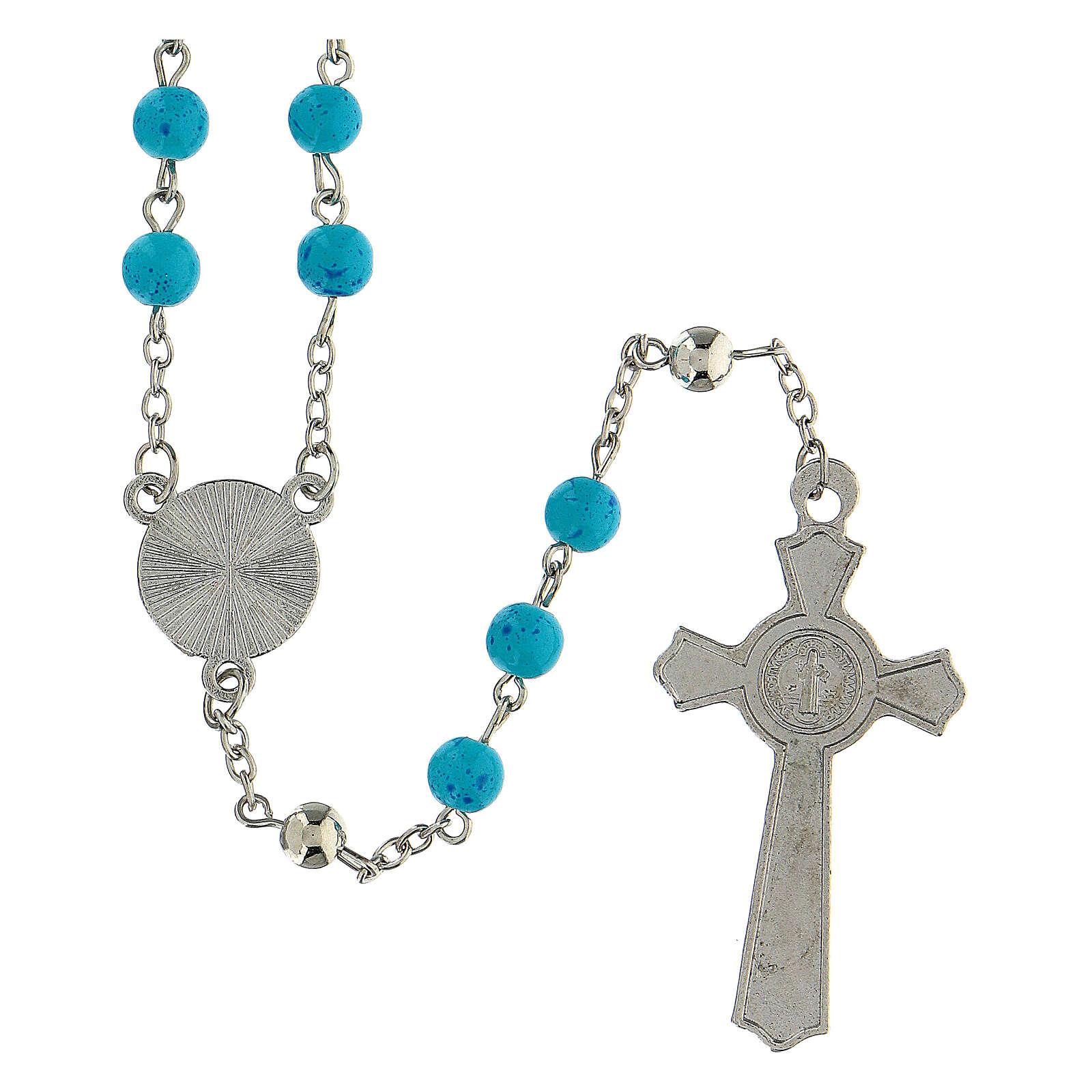 Różaniec Nadzieja koraliki błękitne szkło 6 mm - Kolekcja Korony Wiary 33/47 4