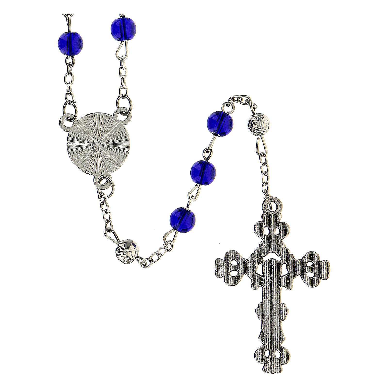 Różaniec Święta Rodzina Narodziny Jezusa koraliki niebieskie szkło 6 mm - Kolekcja Korony Wiary 34/47 4
