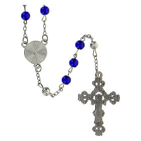 Różaniec Święta Rodzina Narodziny Jezusa koraliki niebieskie szkło 6 mm - Kolekcja Korony Wiary 34/47 s3