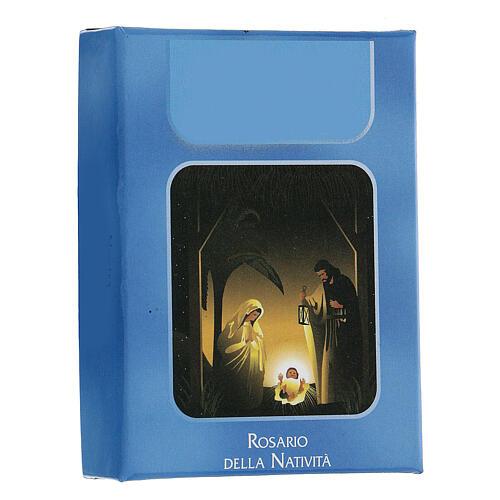 Różaniec Święta Rodzina Narodziny Jezusa koraliki niebieskie szkło 6 mm - Kolekcja Korony Wiary 34/47 2