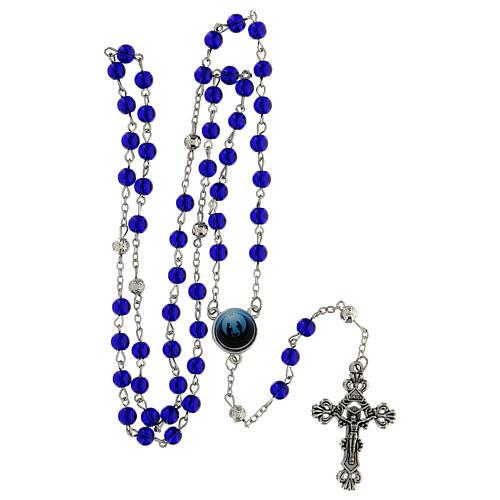Różaniec Święta Rodzina Narodziny Jezusa koraliki niebieskie szkło 6 mm - Kolekcja Korony Wiary 34/47 5