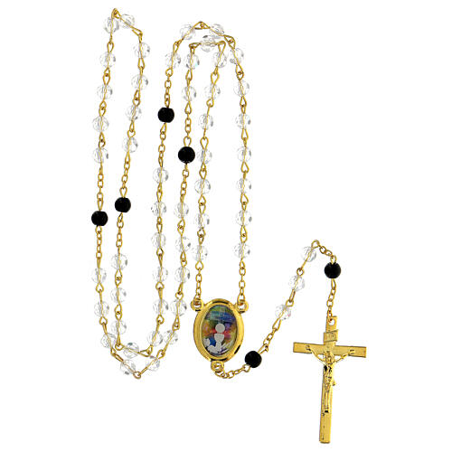 Różaniec Eucharystyczny koraliki szlifowane szkło przezroczyste 6 mm - Kolekcja Korony Wiary 41/47 5
