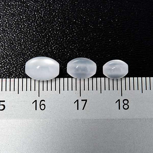 Rosary parts, oval mother of pearl imitation white beads 3
