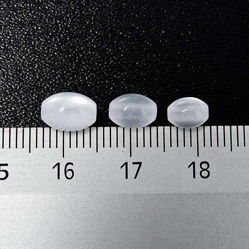 Grains chapelet simili nacre blanc ovale 4