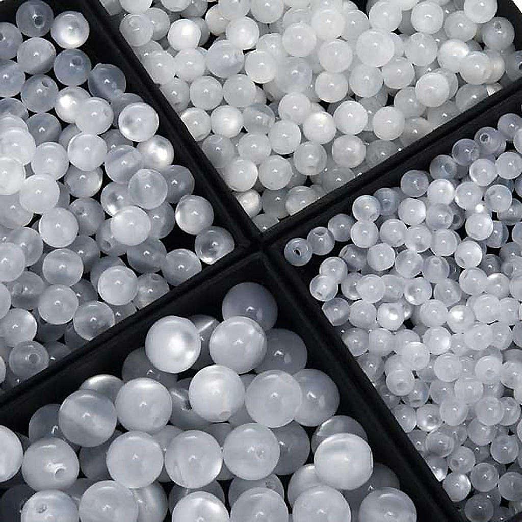 Koraliki różańca imitacja masy perłowej białe okrągłe 4