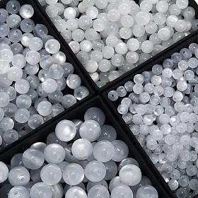 Koraliki różańca imitacja masy perłowej białe okrągłe s1
