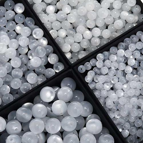Koraliki różańca imitacja masy perłowej białe okrągłe 1