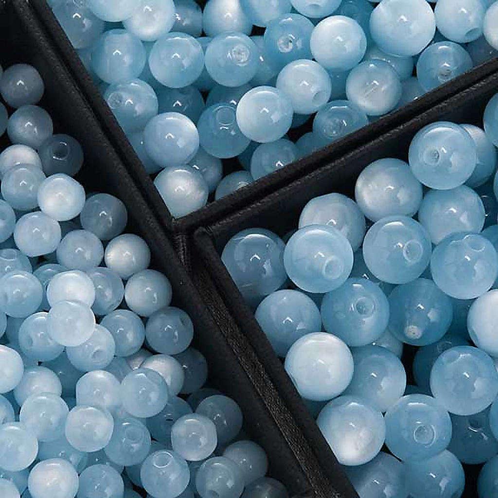 Grains chapelet simili nacre bleu clair ronds 4