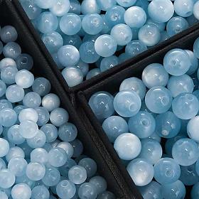 Grains chapelet simili nacre bleu clair ronds s1