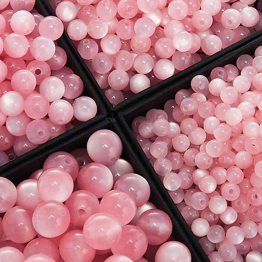 Grani rosari imitazione madreperla rosa tondi 4