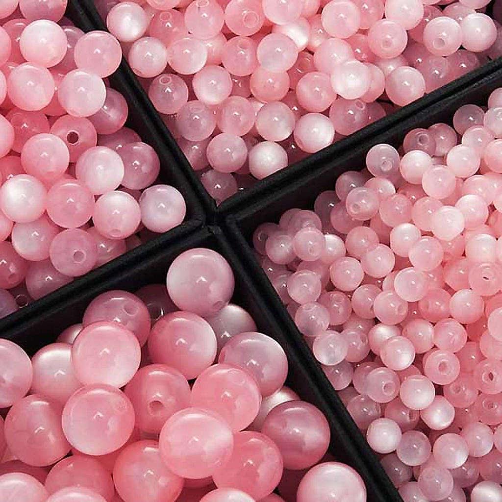 Koraliki różańca imitacja masy perłowej różowe okrągłe 4