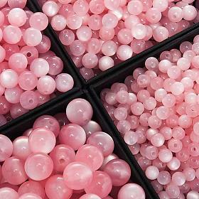 Koraliki różańca imitacja masy perłowej różowe okrągłe s1