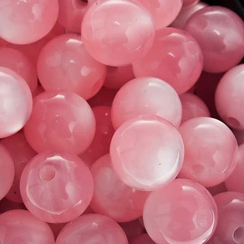 Rosary parts, round mother of pearl imitation pink beads 3