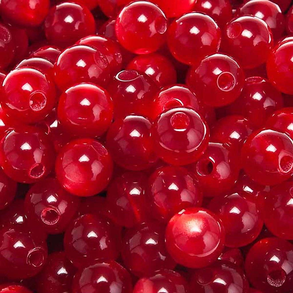 Grani rosari imitazione madreperla rosso tondi 4