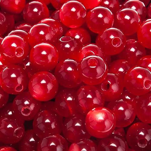 Grani rosari imitazione madreperla rosso tondi 1