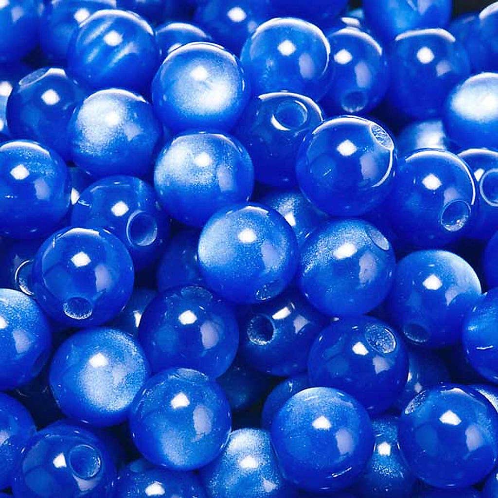 Cuentas rosarios similar nácar azules redondos 4