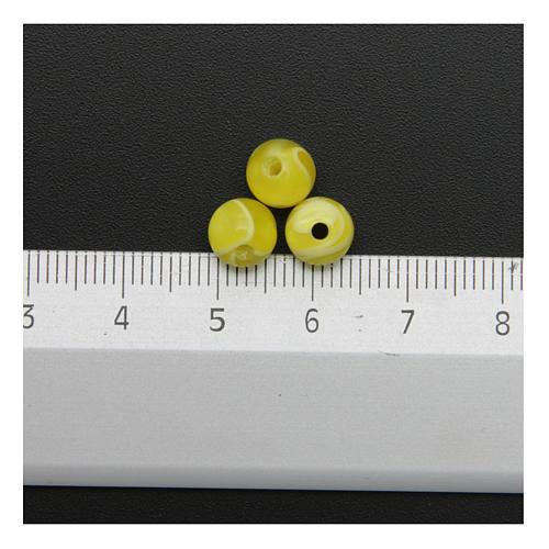 Grani rosari imitazione madreperla giallo tondo 3