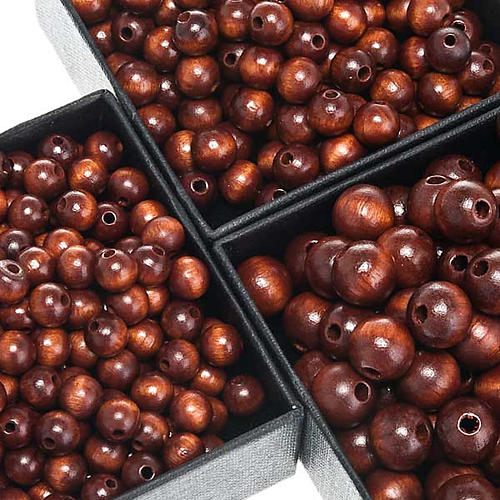 Grains chapelet simili coco marron ronds 1